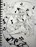 Inktober x 31 Witches Day 18 - Music Witch by SarahRichford
