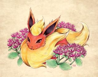 Seasons of Eevee - Flareon and Sedums by juugatsuhoshi