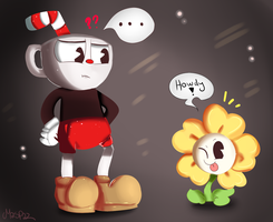 Cuphead and Flowey (Crossover) by Maspaz04