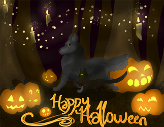Happy Halloween cat-and-wolf by Dragondealer