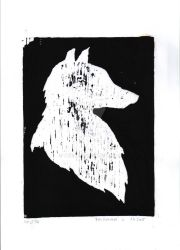 wolf - wood engraving by verive