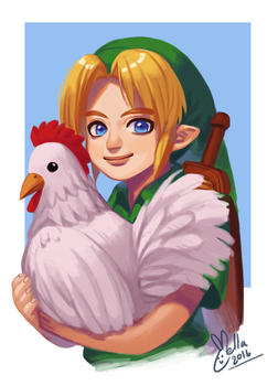 Young Link and a Cucco by Carcoiatto