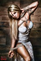 Blonde Beauty White Dress - Fine Art of Bondage by Model-Space
