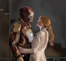 Iron man and Pepper by Saryetta86