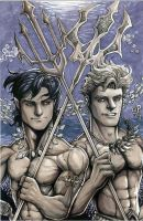 Young Namor, Young Arthur by olybear
