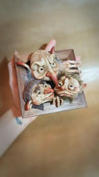 OOAK Small Goblin 3d hanging frame wall art by FaunleyFae