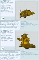 Martot and Manemot fakemon by byona