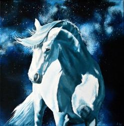 Painting - White horse by Ennete