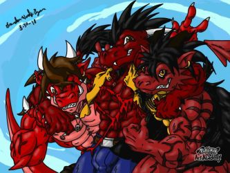 Finished. The Big Red Fearsom Threesome by Drag0nHer0