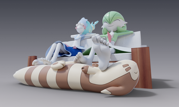 [3D] Primarina and Gardevoir's foot stool by FeetyMcFoot