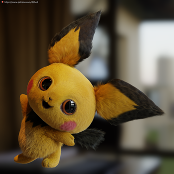 Realistic Pichu Render by TheRealDJTHED