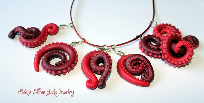 tentacle pendants red glimmer by Sakiyo-chan