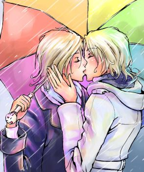 FaiYuui Sharing an Umbrella by konnichipuu
