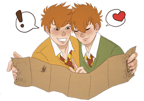 Gred and Forge Weasley by IceFennek