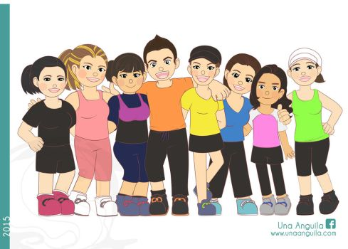 Commission 2015 Gym pals by electra-gretchen
