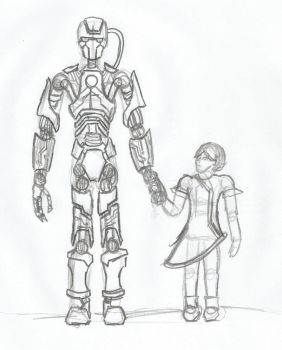 I, Robot - Robbie and Gloria sketch by CryoKatana97