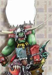 Ork WarBoss - line art by amadeushopkins by AMProSoft