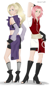 Ino + Sakura: Jounin, color v. by RadiantLife