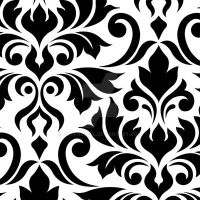 Flourish Damask Art I Black on White by NatPaskell