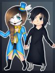 Chibi candy skull and birdman by Pinkwolfly
