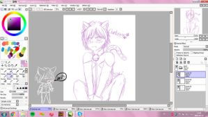 Chat noir WIP by wolfdrawing2