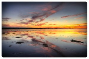 Sunset Over Drying River 2 by AmirNasher