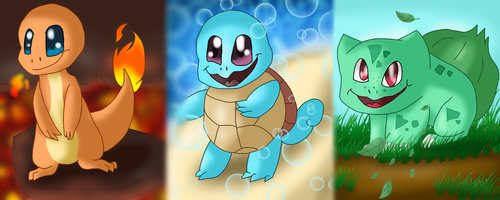 All Kanto Starters by Levatheshapeshifter