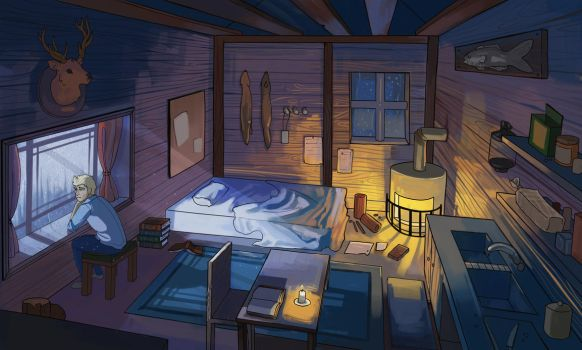 Room at night by MugiwaraWolf