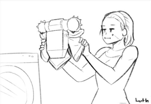 A Sister of Battle doing laundry by Lutherniel