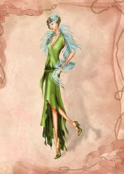 1920s Flapper Costume  Fashion Illustration by BasakTinli