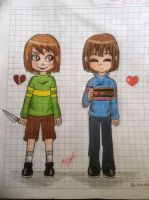 [OLD DRAWING] My First Chara And Frisk Drawing by Jany-chan17