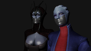 Benezia and Liara Gagged Selfie by TheBlenderTaper