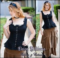 Black Linen and Lace Camisole by DaisyViktoria