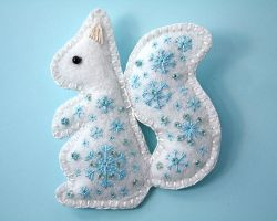 Snow Squirrel felt embroidered brooch by Ailinn-Lein