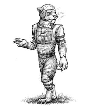 Early 20th Century Sabertoothed Football Player by Temiree