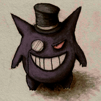 Colored gengar with top hat by Artemesis