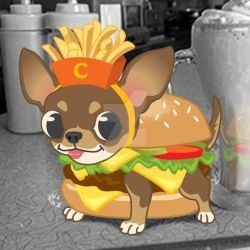 Burger-huahua with Fries by CBeeProject