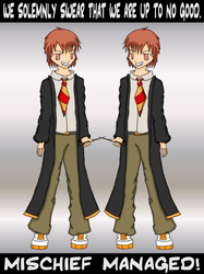 Fred and George Weasley by Katheh
