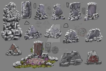Fantasy Runestone concepts by Feivelyn