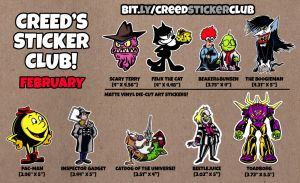 February's Sticker Club Cartoon Mix! by CreedStonegate