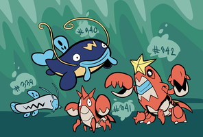 Barboach, Whiscash, Corphish, Crawdaunt