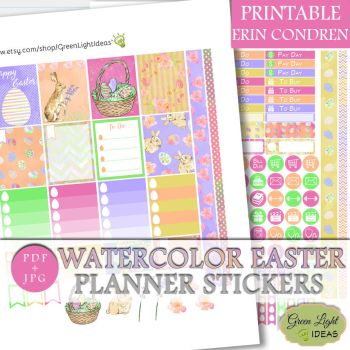Erin Condren Watercolor Easter Stickers by GreenLightIdeasGLI