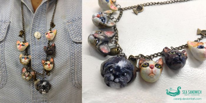 Cats and Dog Necklace by ceanji