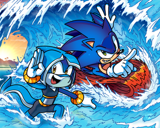 SONIC LEGACY - Sonic and Tempest ridin' the Waves by WaniRamirez