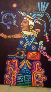 Xochitlquetzal goldleaf acrylic by KaloOne