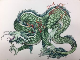 After Watercolor, Chinese Dragon by TheHeadlessPheasant