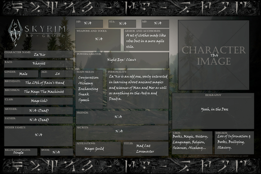 Official Rp Character Sheets On Skyrim Rp Group Deviantart