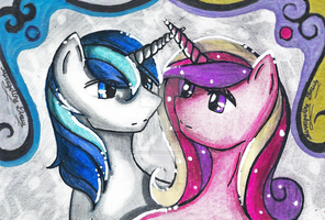 Shining Armor and Princess Cadence Sketch Card Set by EmpressOfSakura