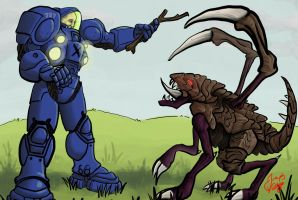 Terran Marine Playing with Zergling by radioactiveroach