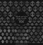 Papers pack #26 - Black and silver grunge damask by lune-blanche